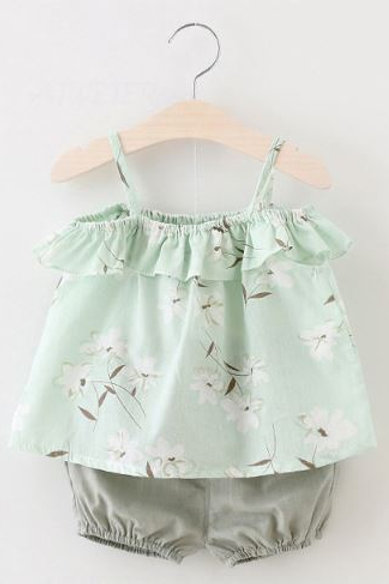 2 Piece Light Green Flower Baby Girl Clothing Set