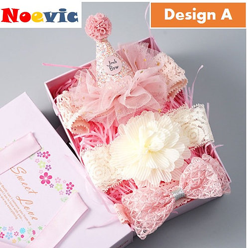 Little Girl Birthday Cap with Headband Gift Box