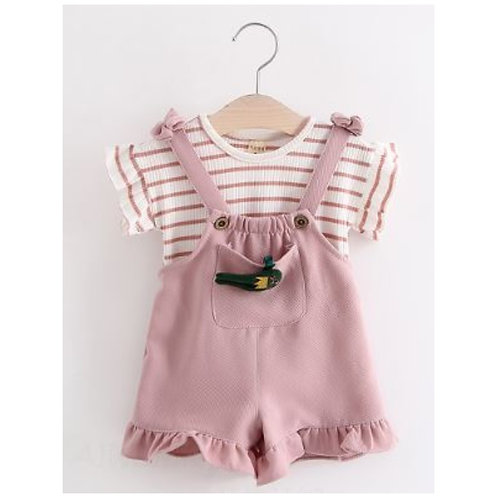 2-Piece Baby Girl Shirt and Suspender