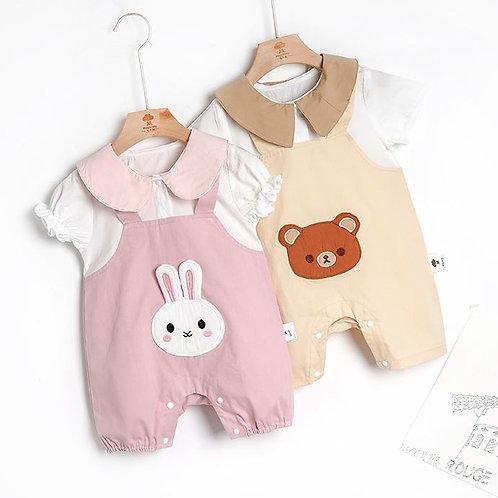 Cute Rabbit & Bear Design Round Collar Romper