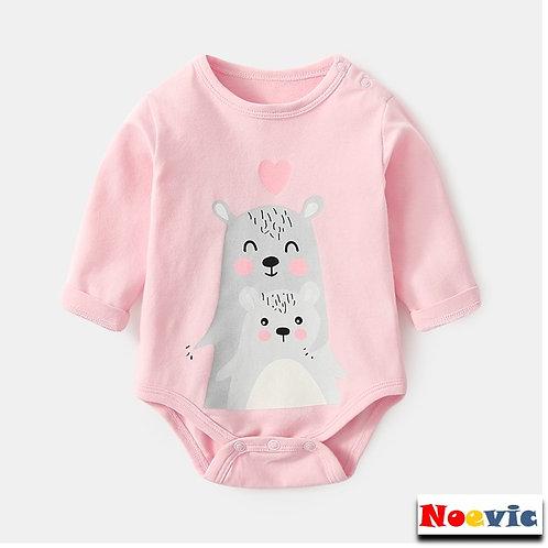 Lovely Bear Pink Long Sleeve Romper/Bodysuits