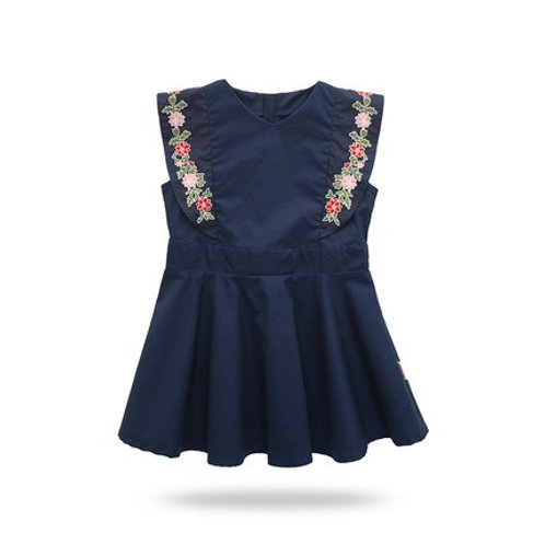 Colorful Flower Embroidery Sleeveless Dress