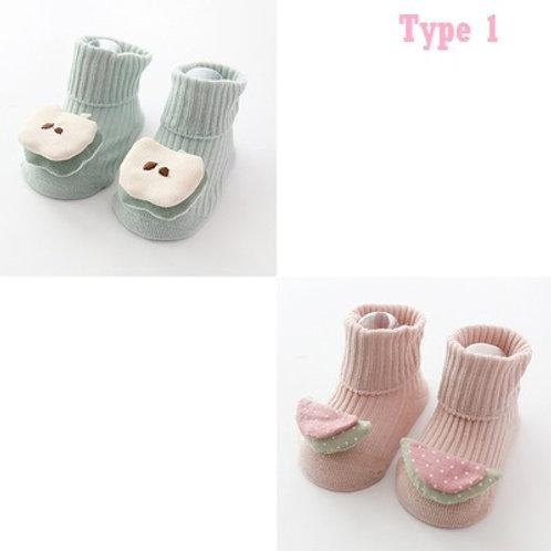 3D Fruits Design Baby Socks (2in1 Pack)