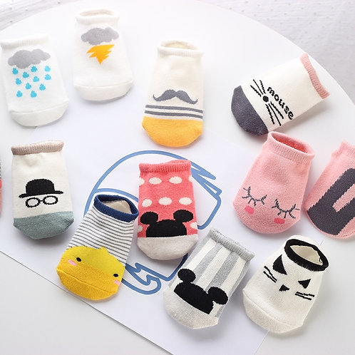 Mickey Mustache Duck Printed Design Baby Socks (5 Pairs)