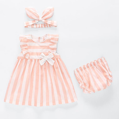3-piece Peach Strap dress with Pant & Headband