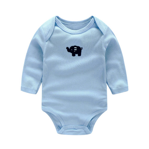 Little Elephant Embroidery Long Sleeve Light Blue Romper/ Bodysuits
