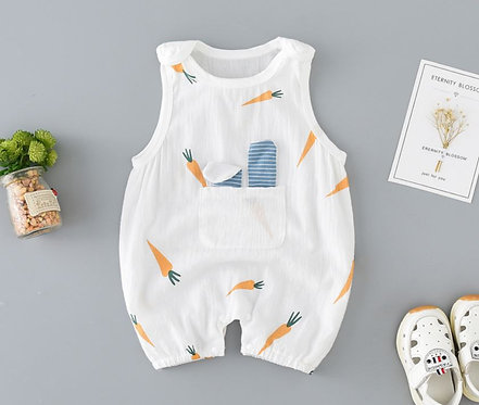 [Clearance Sale] Cute Sleeveless Carrot Romper with Front Pocket for Baby