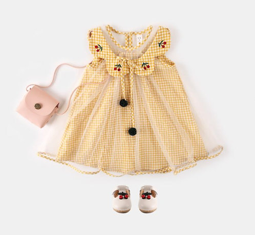 Cherry Embroidery Collar with Yellow Plaid Gauze