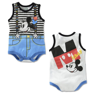 Mickey Suspender Like Design Sleeveless Romper/Bodysuits