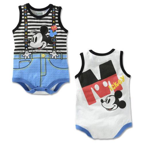 Mickey Suspender Like Design Sleeveless Romper/Bodysuits