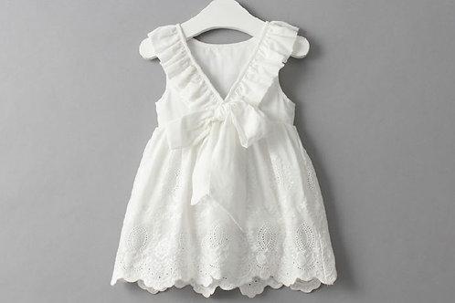 White Ribbon Design Lace Dress for Little Girl