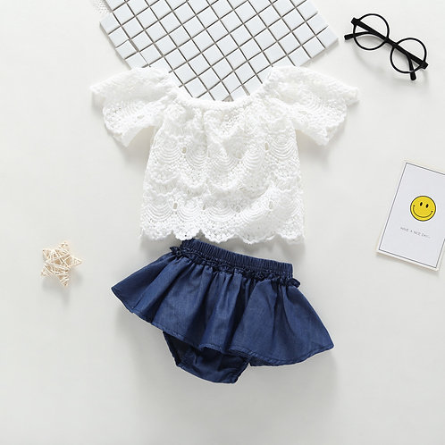 White Lace Tank Top with Jeans Like Bottom Pant for Baby Girl