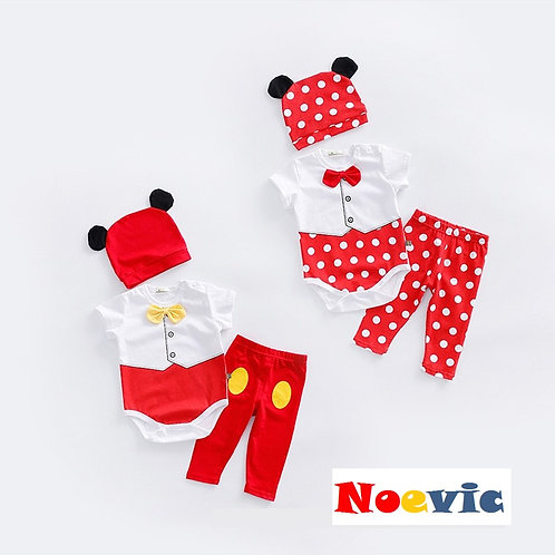 Mickey & Minnie Romper Set with Cute Hat & Long Pant