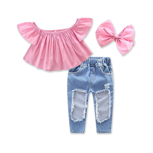 Pinky Crop Tank Top with Long Jeans Pant & Headband