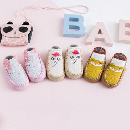 Cute Design Pre-walker Non-Slip Socks with Rubber Sole
