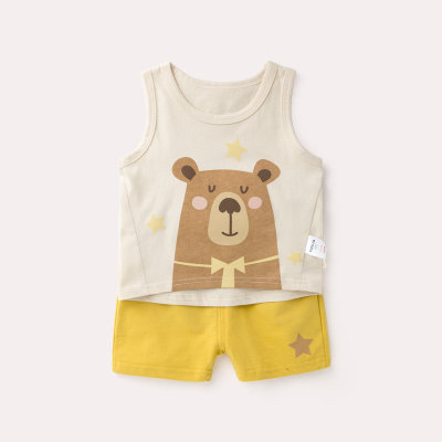 Brown Bear Singlet with Yellow Pant Set