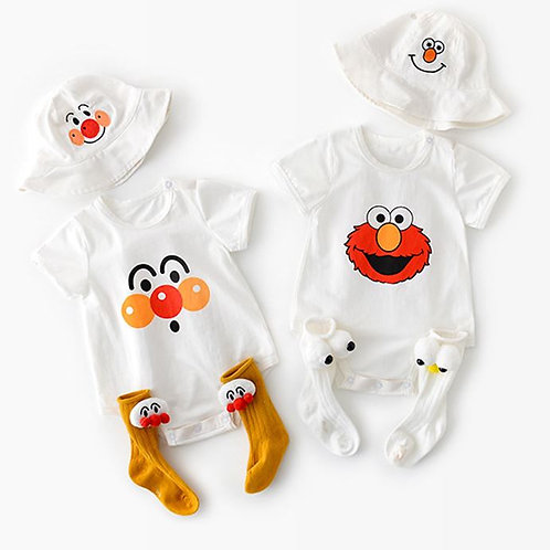 Elmo & Clown Romper with Matching Hat
