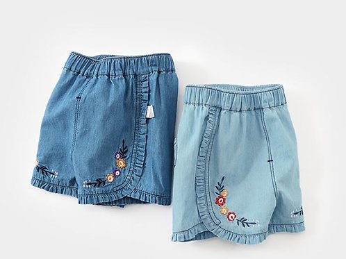 Jeans Like Short Pant with Flower Embroidery