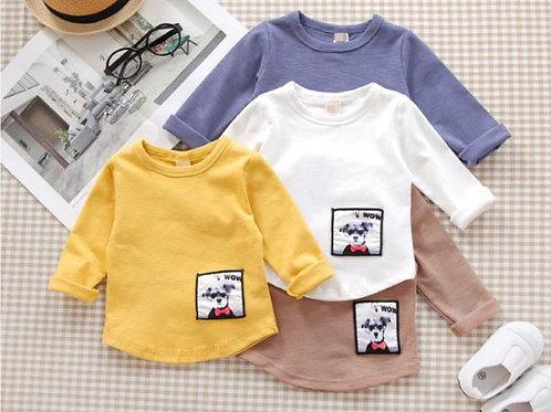 Doggie Badge Print Long Sleeve Shirt