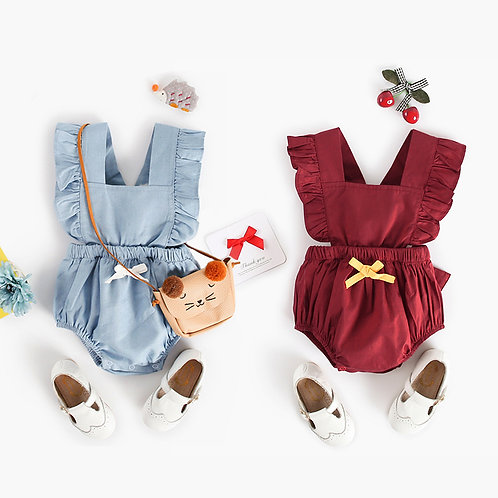 Ruffle Sleeve Backtie Ribbon Romper/Bodysuits