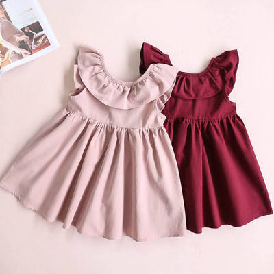 Simple Round Collar Pleated Dress with Back Ribbon