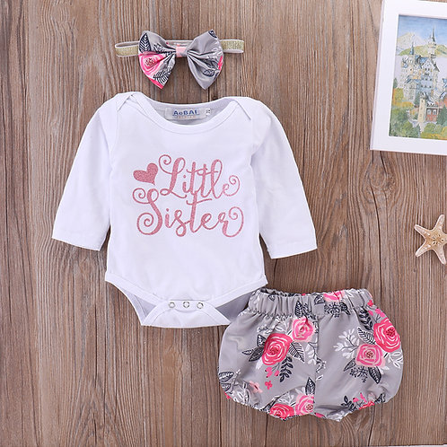 [Clearance Sale] Little Sisters Long Sleeve Romper with Floral Pant & Headband