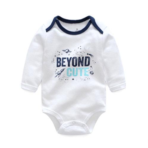 Beyond Cute Print White Long Sleeve Baby Romper/ Bodysuits