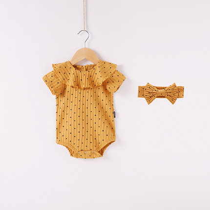 [Clearance Sale] Polka Dot Bodysuits/Romper with Matching Headband