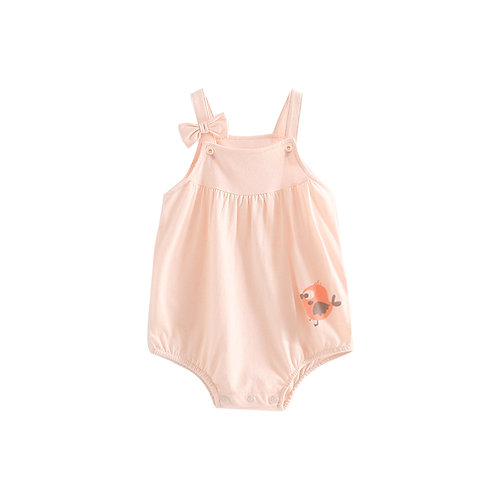 Little Bird Design Peach Ribbon Sleeveless Suspender Like Romper/Bodysuit