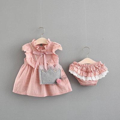 Pinky Ribbon Dress and Panties with Cute Slingbag