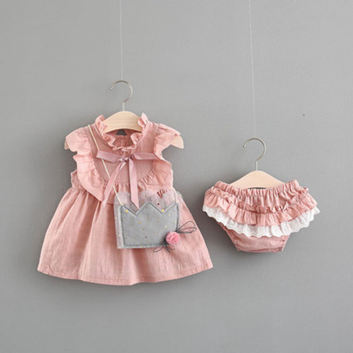Pinky Ribbon Dress and Panties with Cute Slingbag