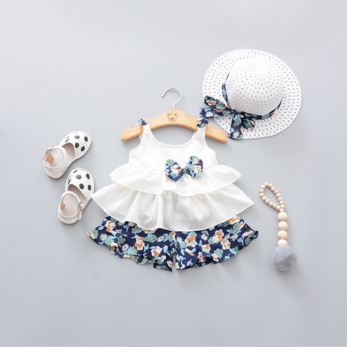 [Clearance]3-piece Sleeveless Fluffy Top with Floral Pant and White Floral Hat