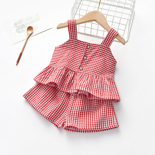 2-Pcs Sleeveless Plaid Design Shirt & Pant for Little Girl