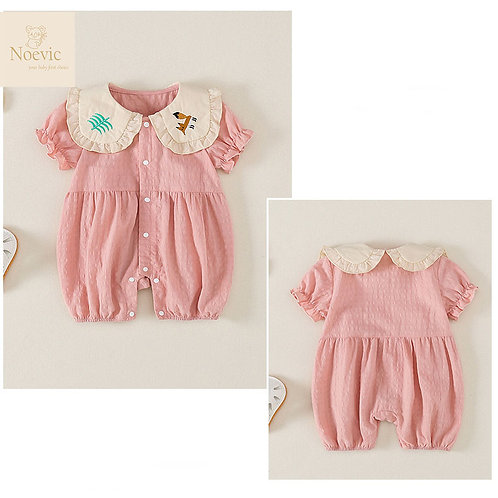 Round & Cute Embroidery Collar Ruffle Sleeve Romper for Baby Girl