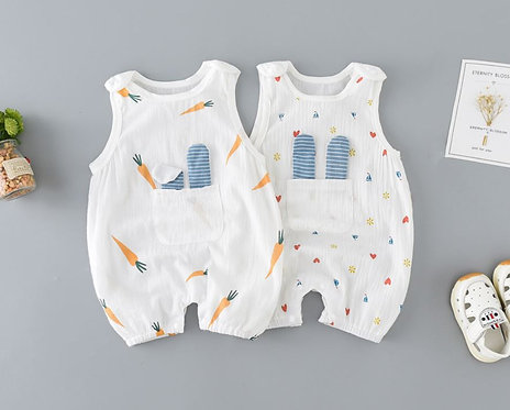 Cute Sleeveless Carrot Romper with Front Pocket for Baby Girl/Boy