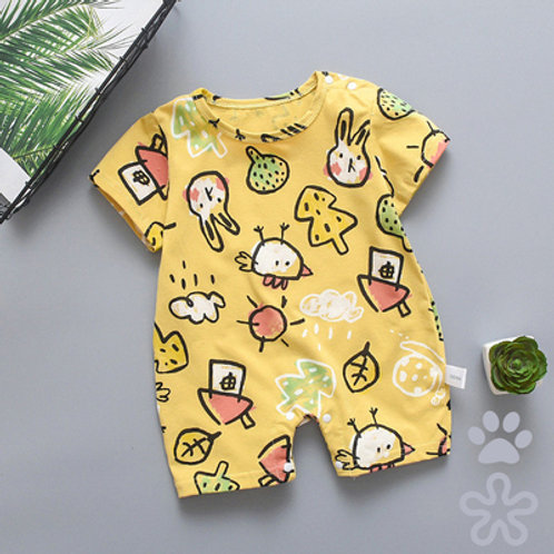 Cute Rabbit Sketch Design Short Sleeve Romper/Bodysuits