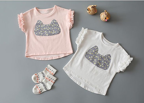 Floral Print Shirt with Special Design Sleeve for Baby Girl