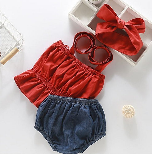 Red Crop Top Jeans Pant with Headband for Baby Girl