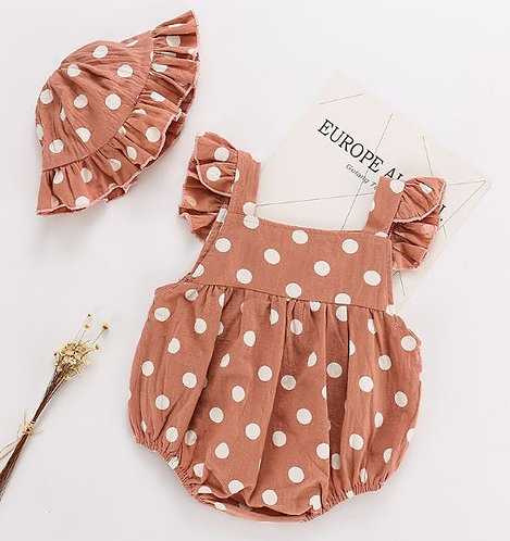 Ruffle Sleeve Pink Polka Dot Suspender with Hat
