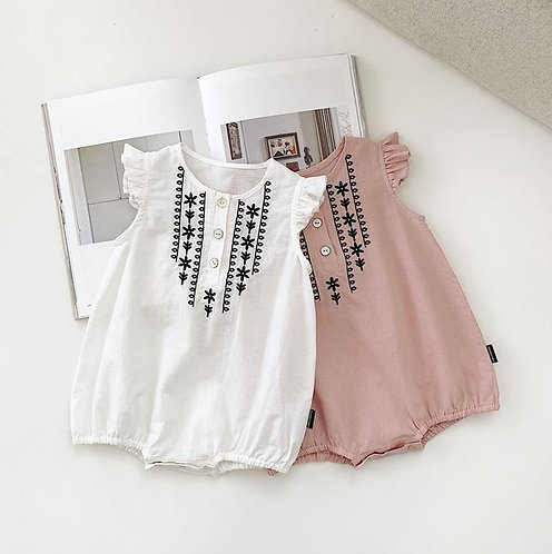 Ruffle Sleeve with Flower Embroidery Design Romper for Baby Girl