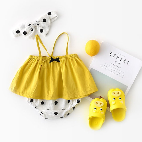 Lemon Yellow Spaghetti Top with Polka Dot Short Pant