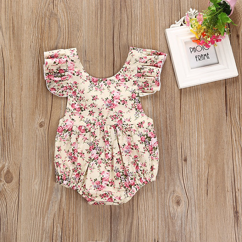 Summer Floral Print Ruffle Sleeve Backless Ribbon Romper/Bodysuit