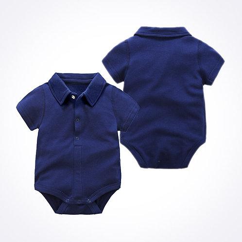Navy Blue Polo Romper / Bodysuits