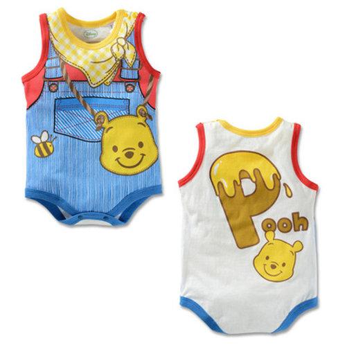 Winnie Pooh & Honey Bee Suspender Like Design Sleeveless Romper/Bodysuits