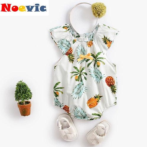 Pineapple Print White Romper for Baby Girl