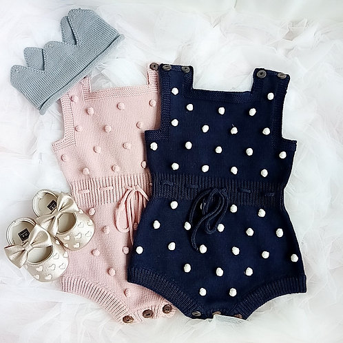 Polka Dots Knitted Baby Girl Romper/Bodysuits