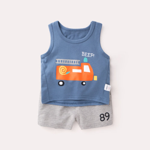 Vehicle Print Blue Singlet with Grey Pant Set