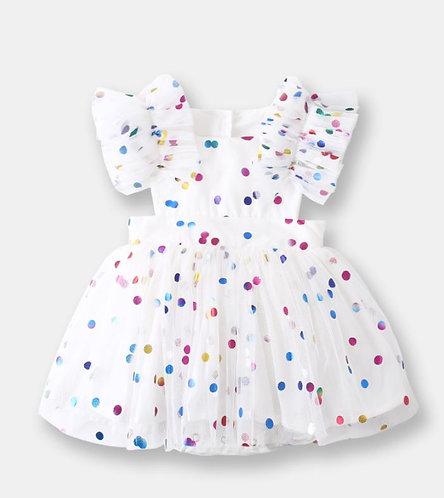 Colourful Polka Dot with Gauze Sleeve and Bottom Design