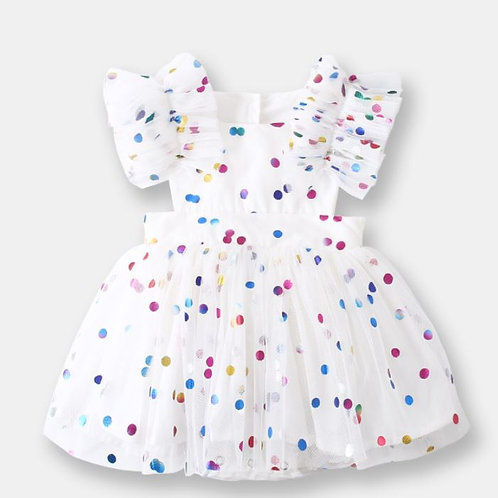 Colourful Polka Dot with Gauze Sleeve and Bottom Design