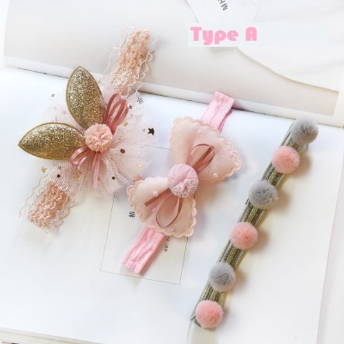 Pinkish Baby Girl Headband (3pcs Pack)